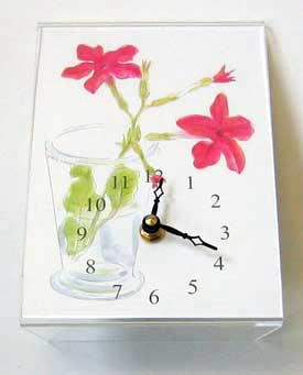 Red Nicotiana Desk Clock